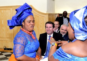 Minister of State at the Dept of Justice & Law Reform, Arts, Heritage and the Gaeltacht, Aodhán O'Riordán TD, enjoying the music and dance from the IGBO Community Dance Group at St Patrick's Gateway.